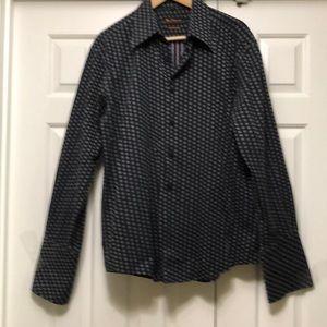 Ben Sherman Men's Black Pattern French Cuff Shirt